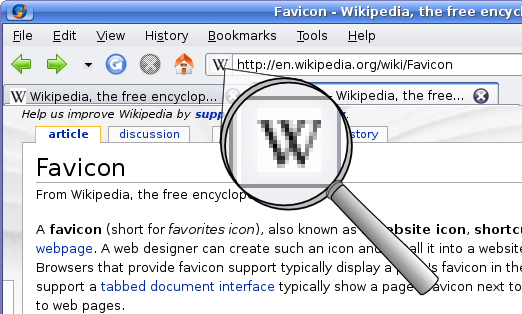Wikipedia's favicon, shown in an older version of Firefox, image obtained from Wikimedia Commons