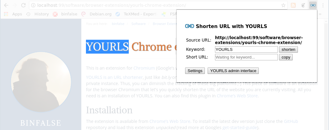 Yourls Chrome Extension