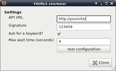 YOURLS Firefox extension